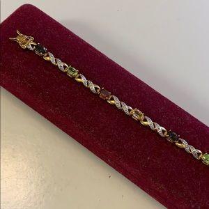 Jewelry - Gold Over Sterling Silver Gemstone Tennis Bracelet